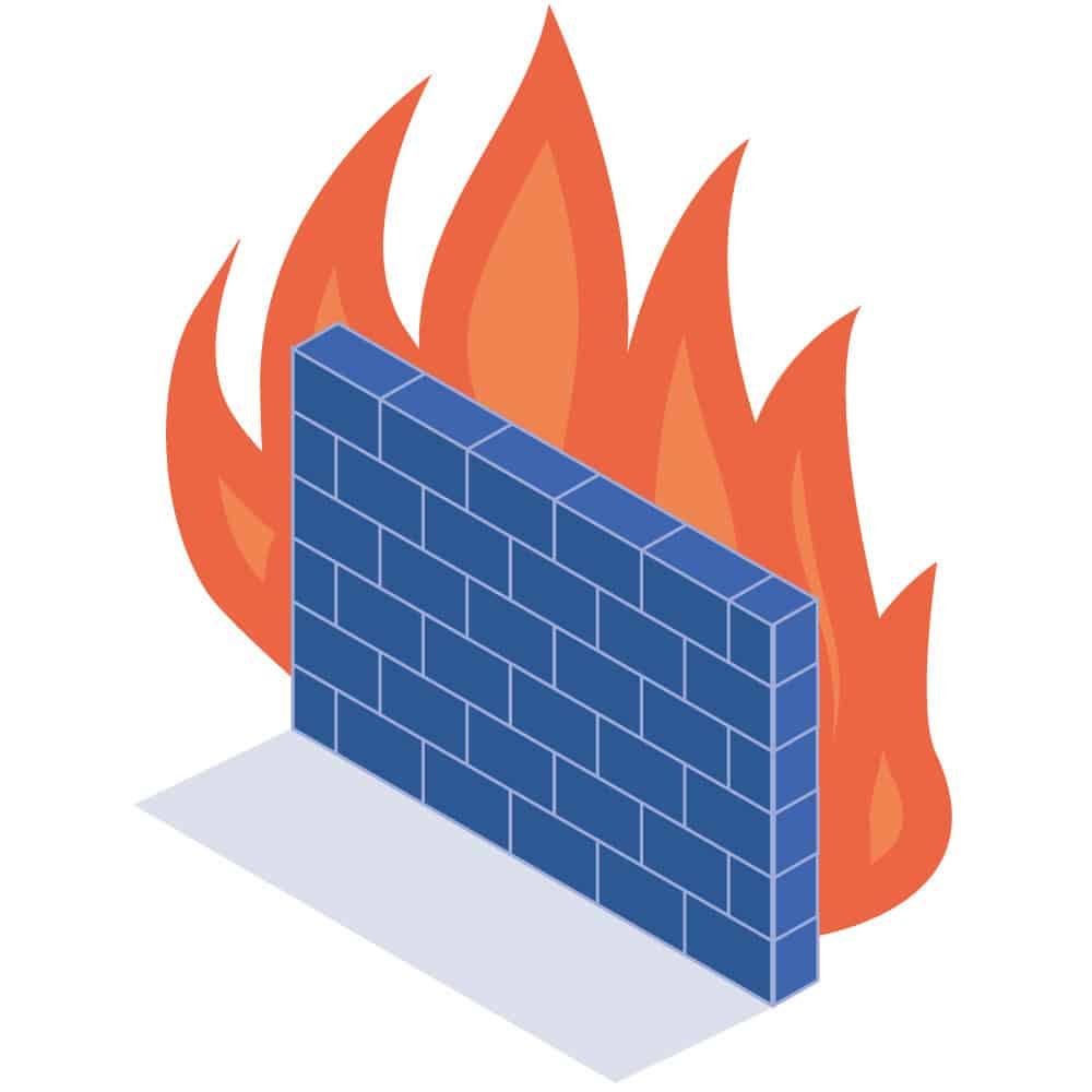Eine Mauer mit Feuer dahinter