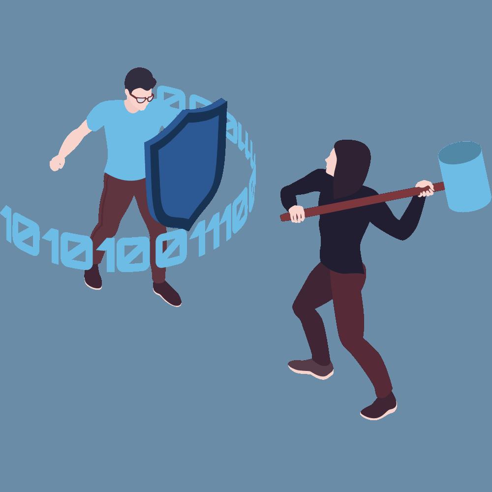 Eine Person mit einem Hammer haut gegen ein Schild von einer anderen Person
