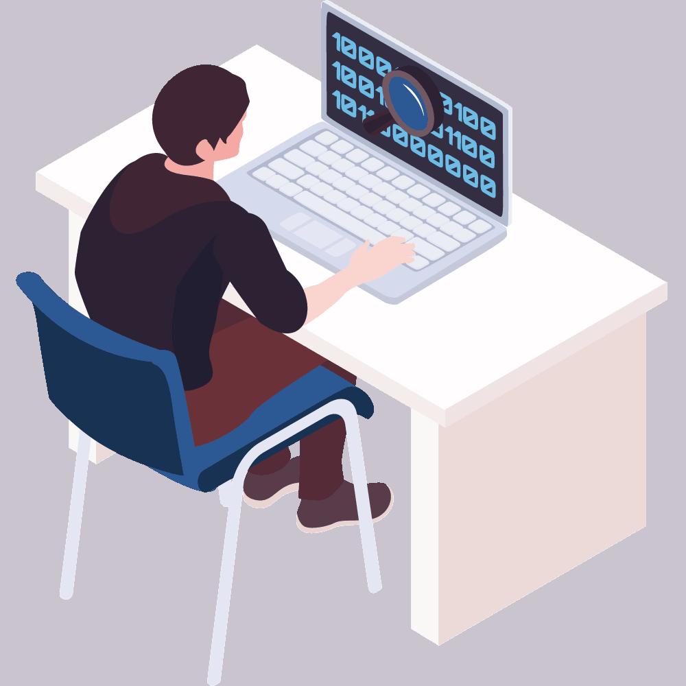 Person sitzt vor dem Pc und sucht in Code nach etwas