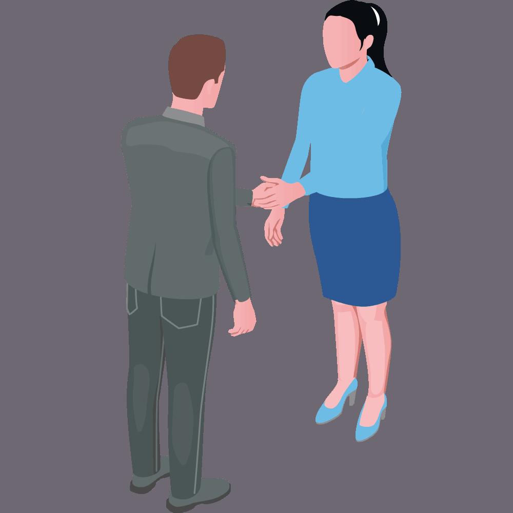 Mann und Frau stehen sich gegenüber und schütteln die Hände